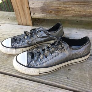 Converse Shiny Silver Gray Sneakers 7.5